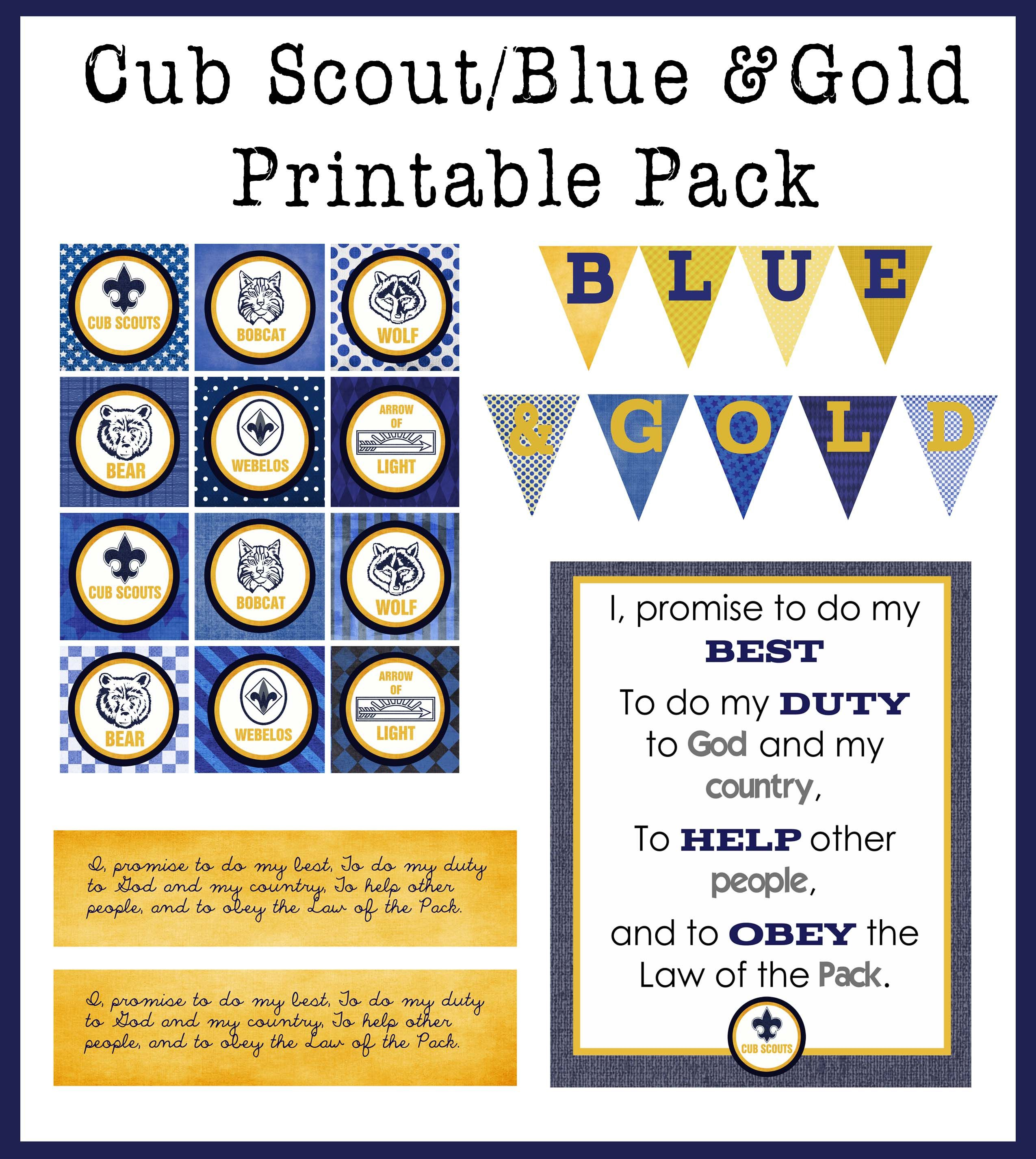 Free Printable Blue Amp Gold Cub Scout Printable Pack Includes Cupcake Toppers Jar Wrapper