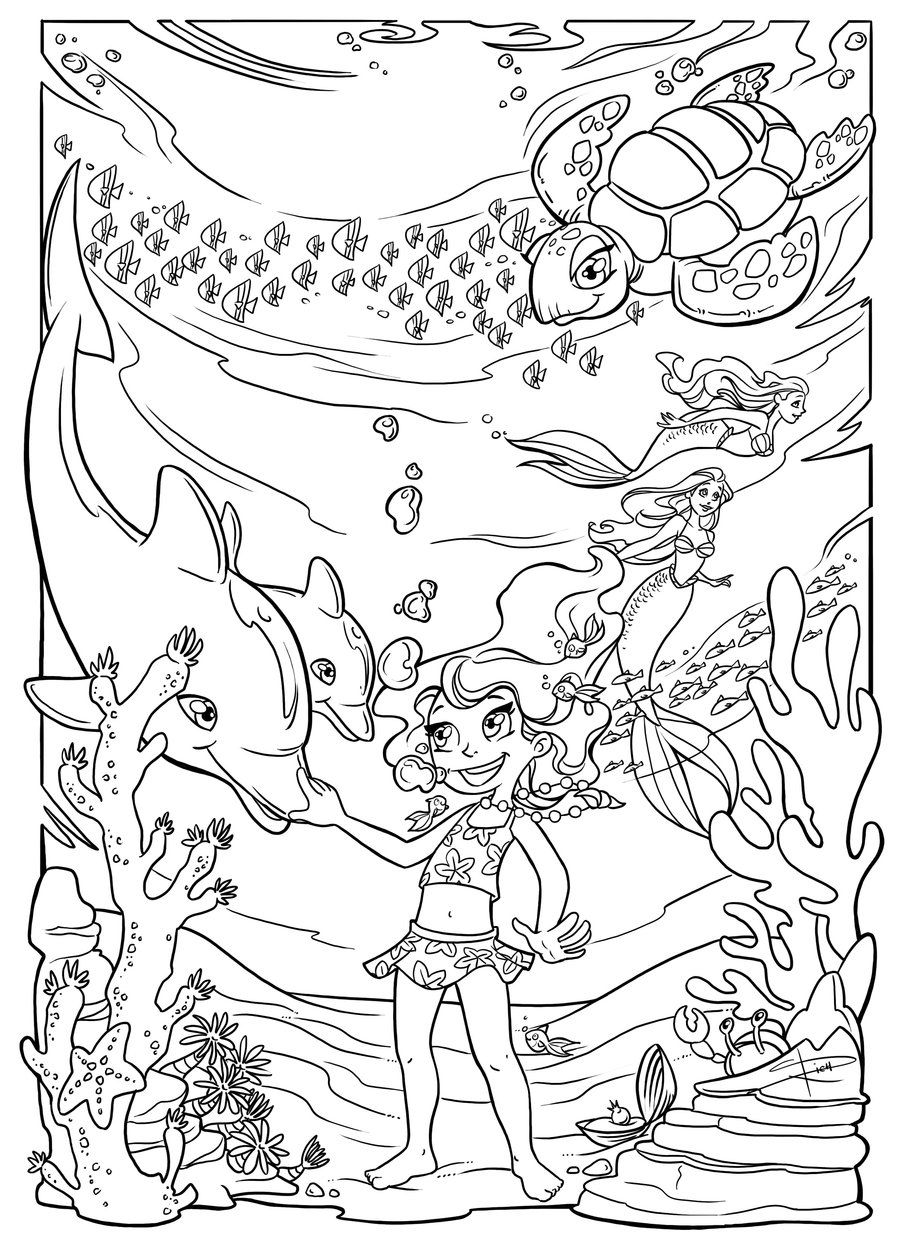 Underwater Fun Coloring Page By Sabinerich Deviantart On