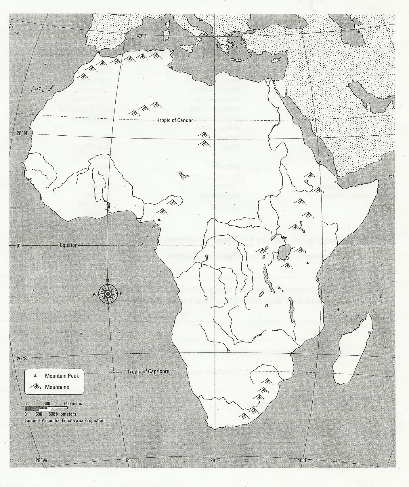 Blank Africa Physical Map