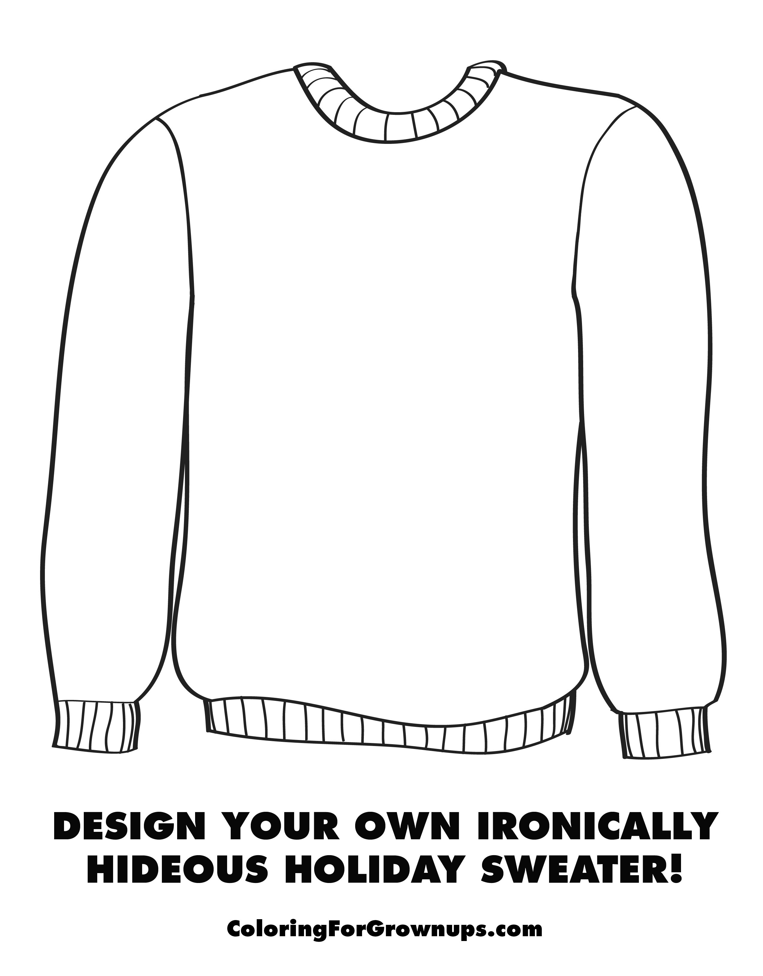 Holiday Sweater Coloring Page