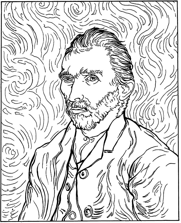 Free Coloring Page Coloring Adult Van Gogh Autoportrait