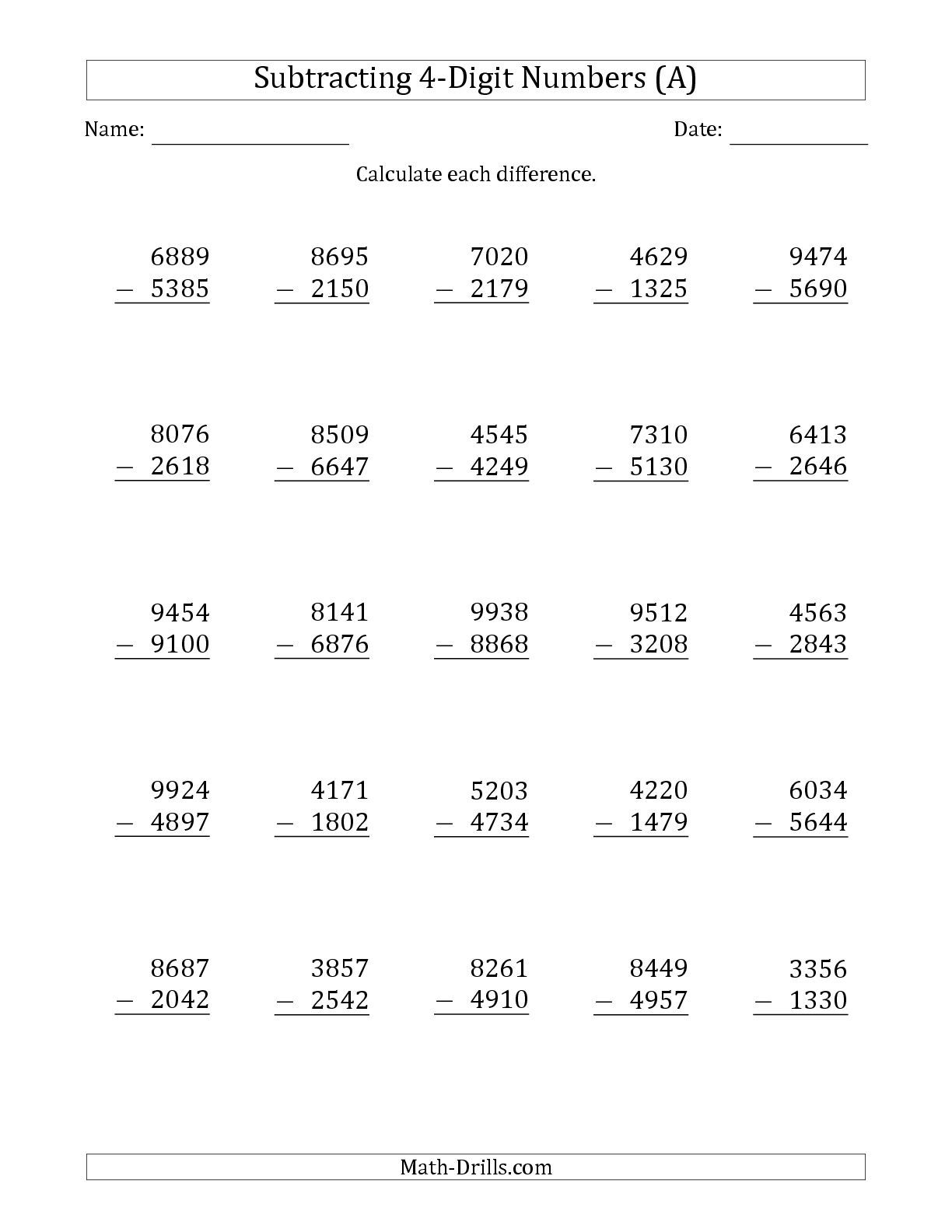 The 4 Digit Minus 4 Digit Subtraction A Math Worksheet From The Subtraction Worksheets Page At
