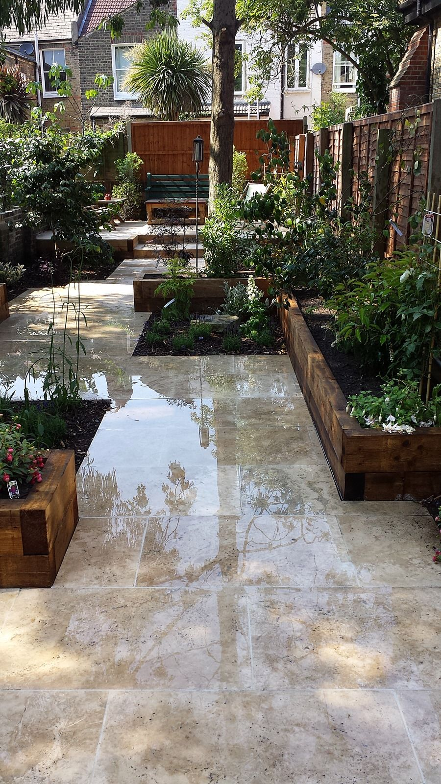 travertine paving patio garden wandsworth london raised