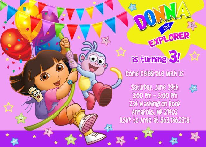 dora invitation card | paperinvite, Birthday invitations