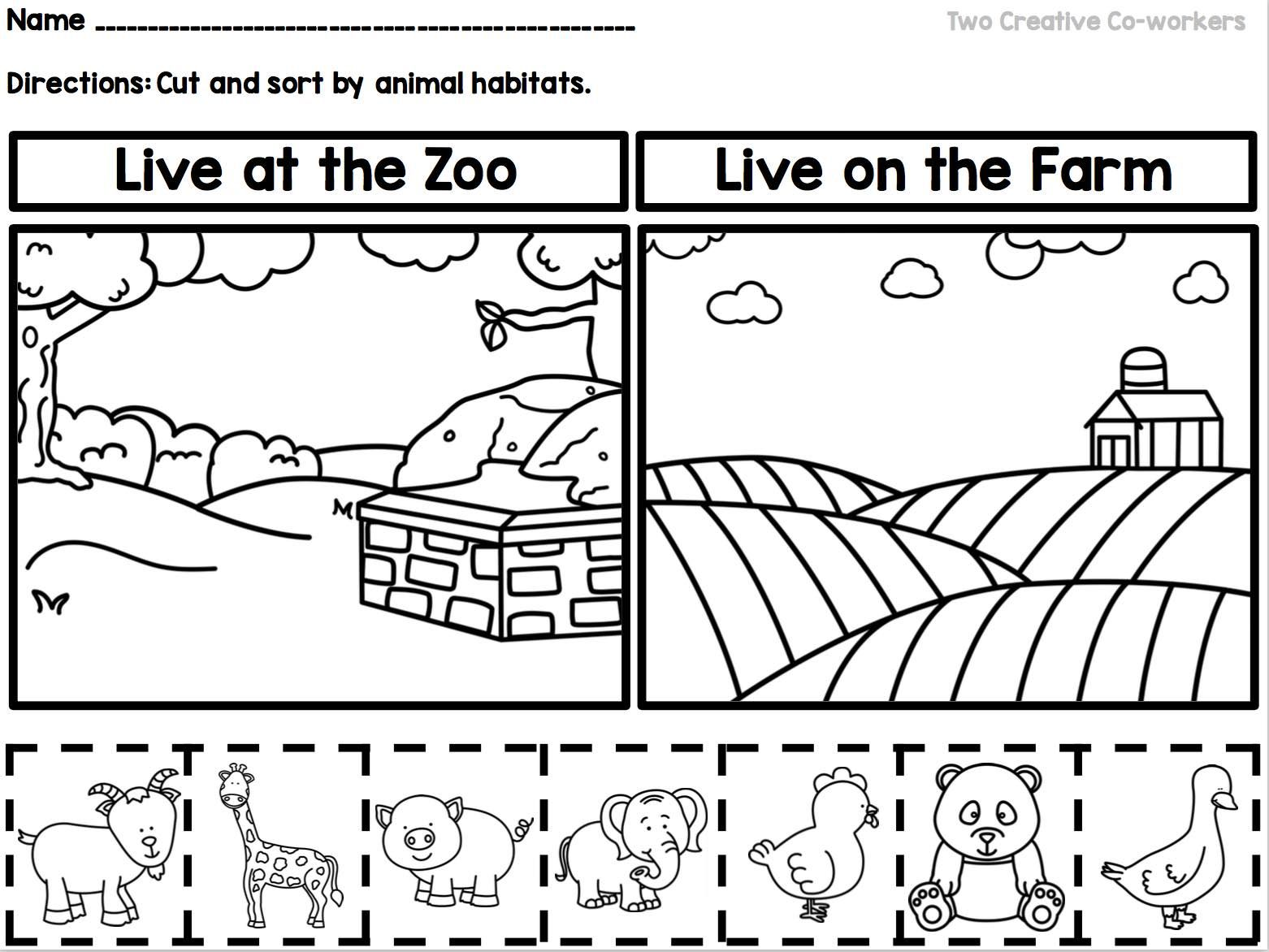 Animal Habitats Printable Book Sorting Worksheets
