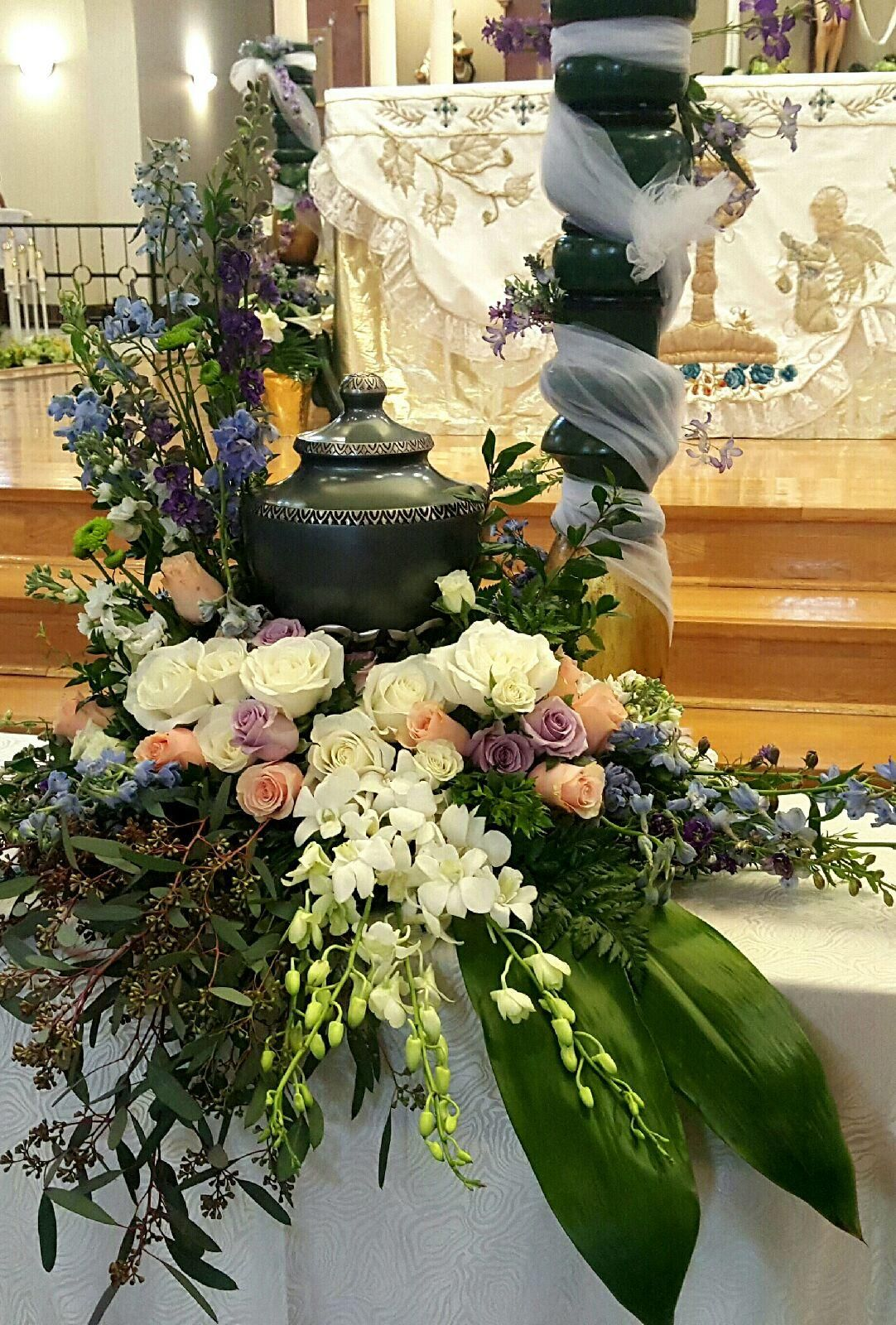 Thompson's Flower Shop Cremation Urn and Floral