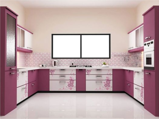 Wonderful Kitchen Paint Colors Ideas With Beautiful White Wall And Charming Purple Cabinet