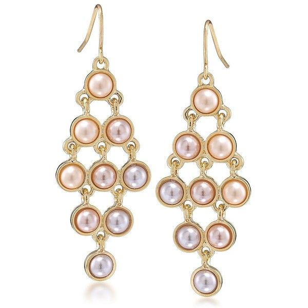 Carolee Peach Blossom Gold Tone And Faux Pearl Chandelier Earrings 25 Aud