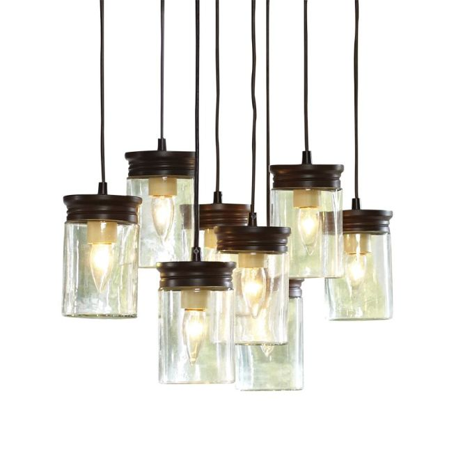Allen Roth 24 In W Bronze Pendant Light With Clear Shade At Lowes
