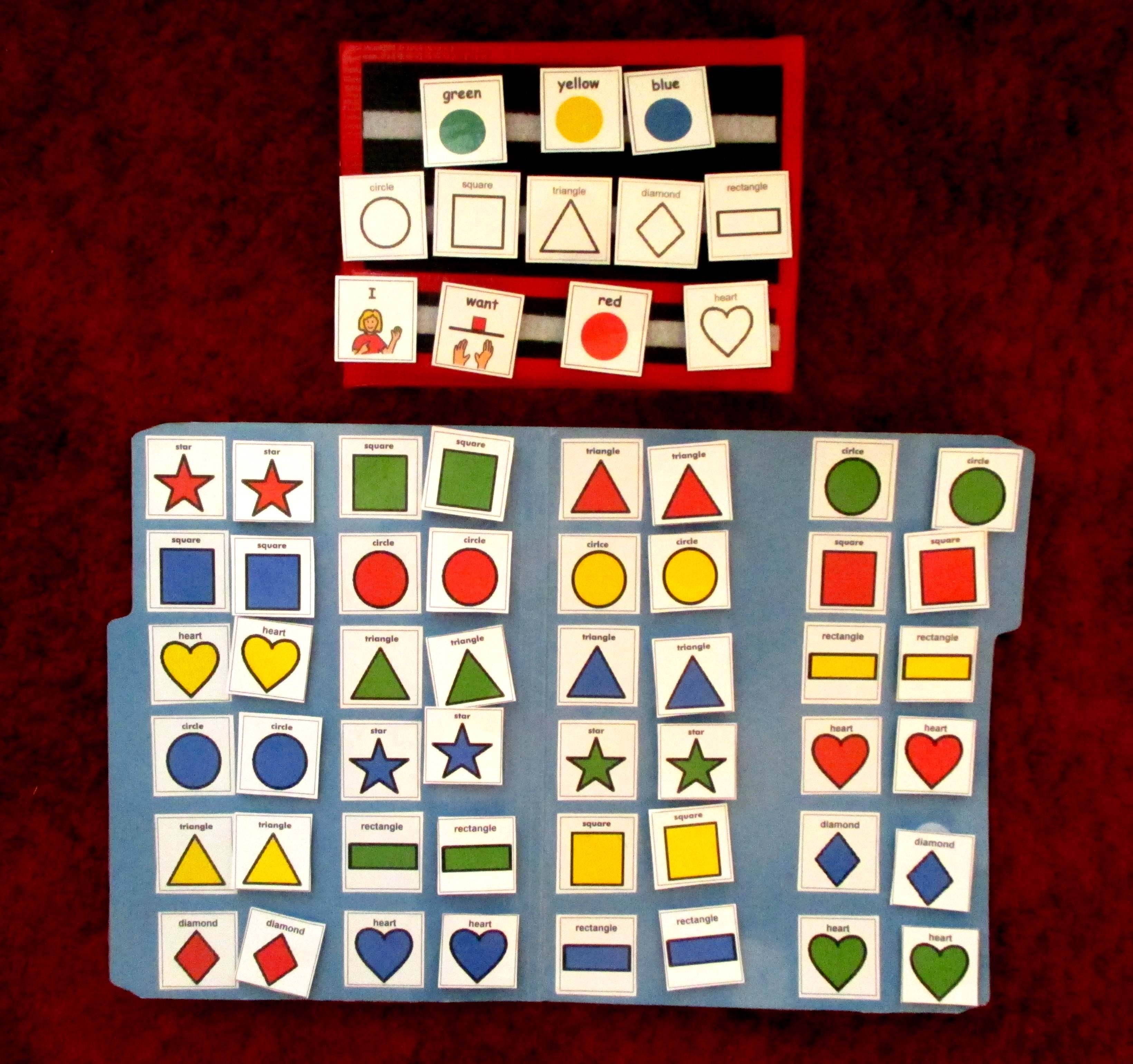 Communication Activity Matching Shapes Colors I Hold All The Matching Pieces Using Pecs To