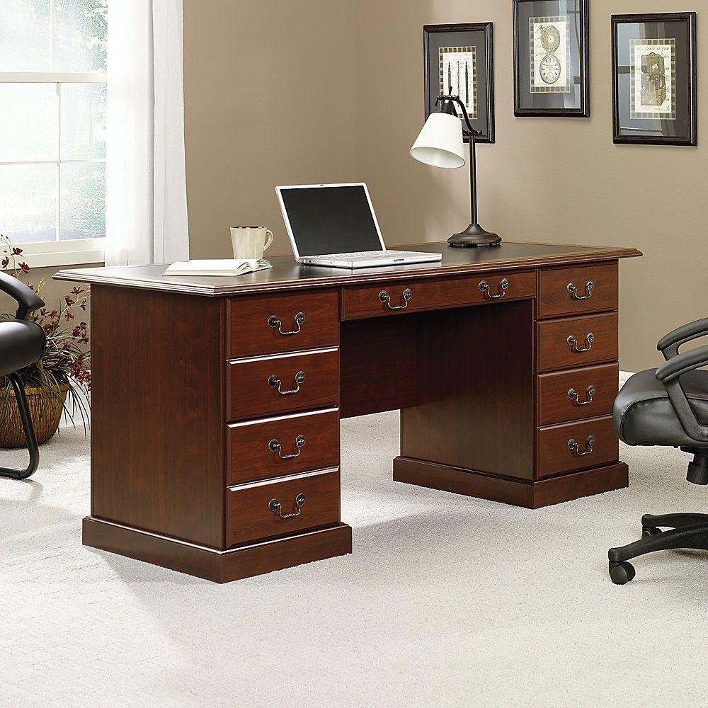 """Sauder Heritage Hill DoublePedestal Desk, 64 3/4""""W"""