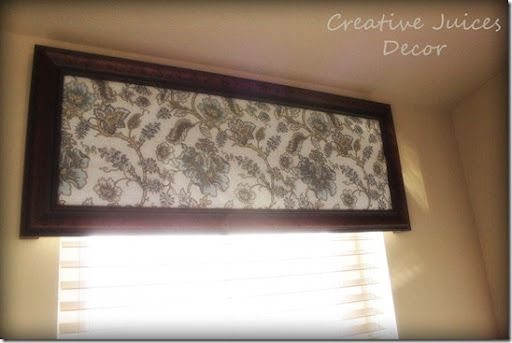 Creative Juices Decor  Easy DIY Valance from Old Picture Frame     Make a window valance out of an old picture or mirror frame  Shabby chic  fabric with dark wood frame