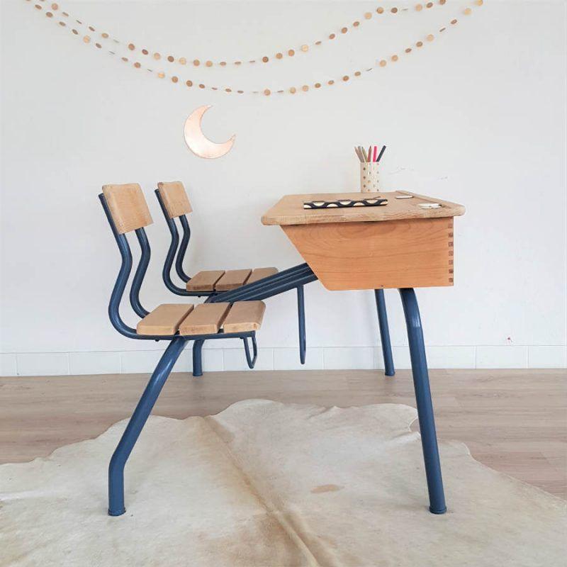 pupitre d ecolier vintage bureau enfant 2 places annees 50 bleu indigo chouette fabrique