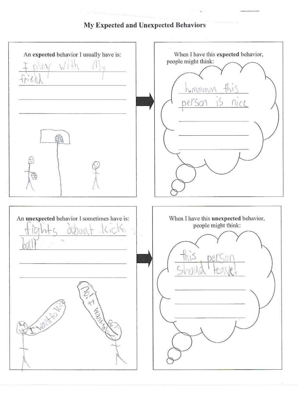 Expected Unexpected Behavior Worksheet These Words Are Key To Kids With Autism Understanding