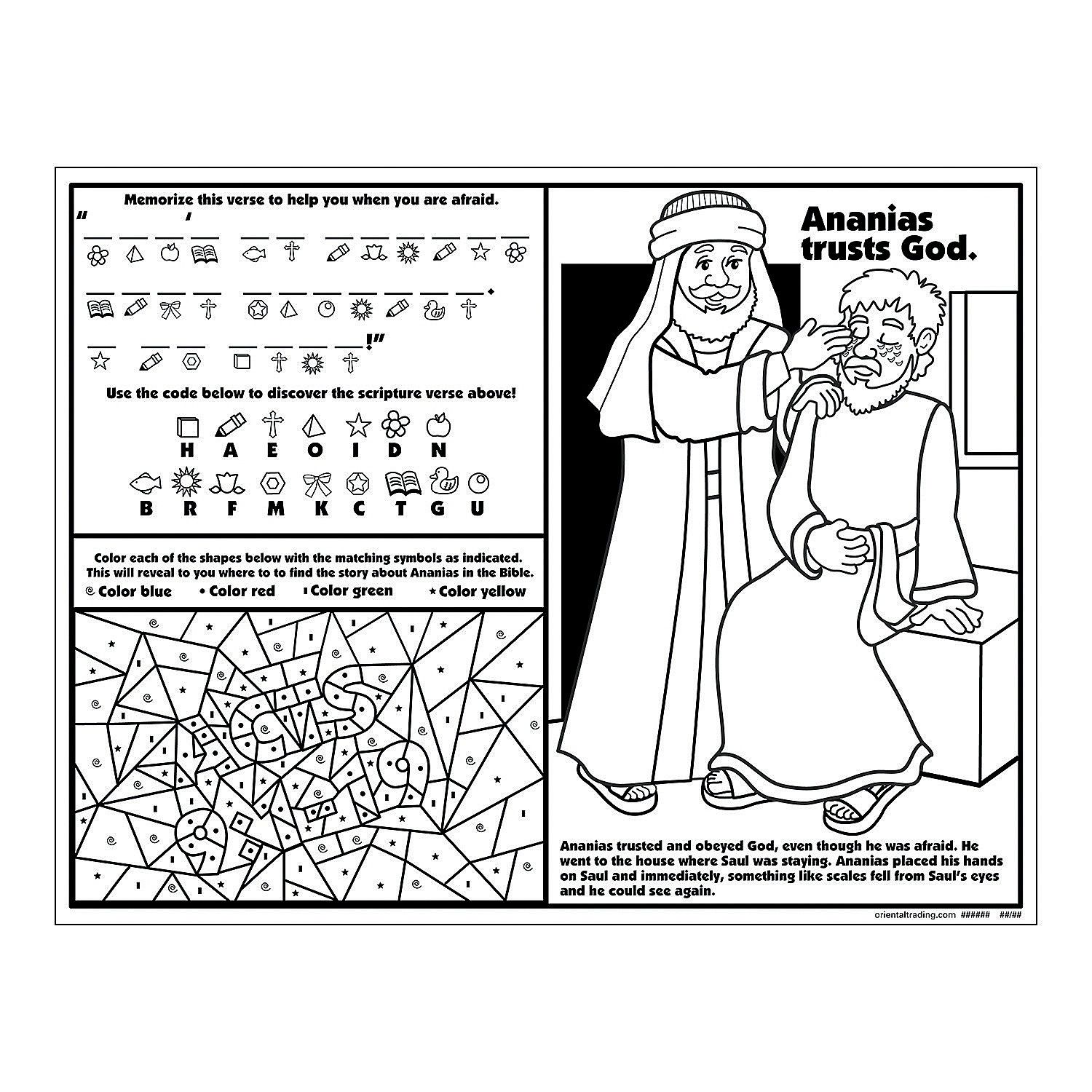 Ananias Helps Saul Activity Sheets Activity Books Stationery Teaching Supplies Amp Stationery