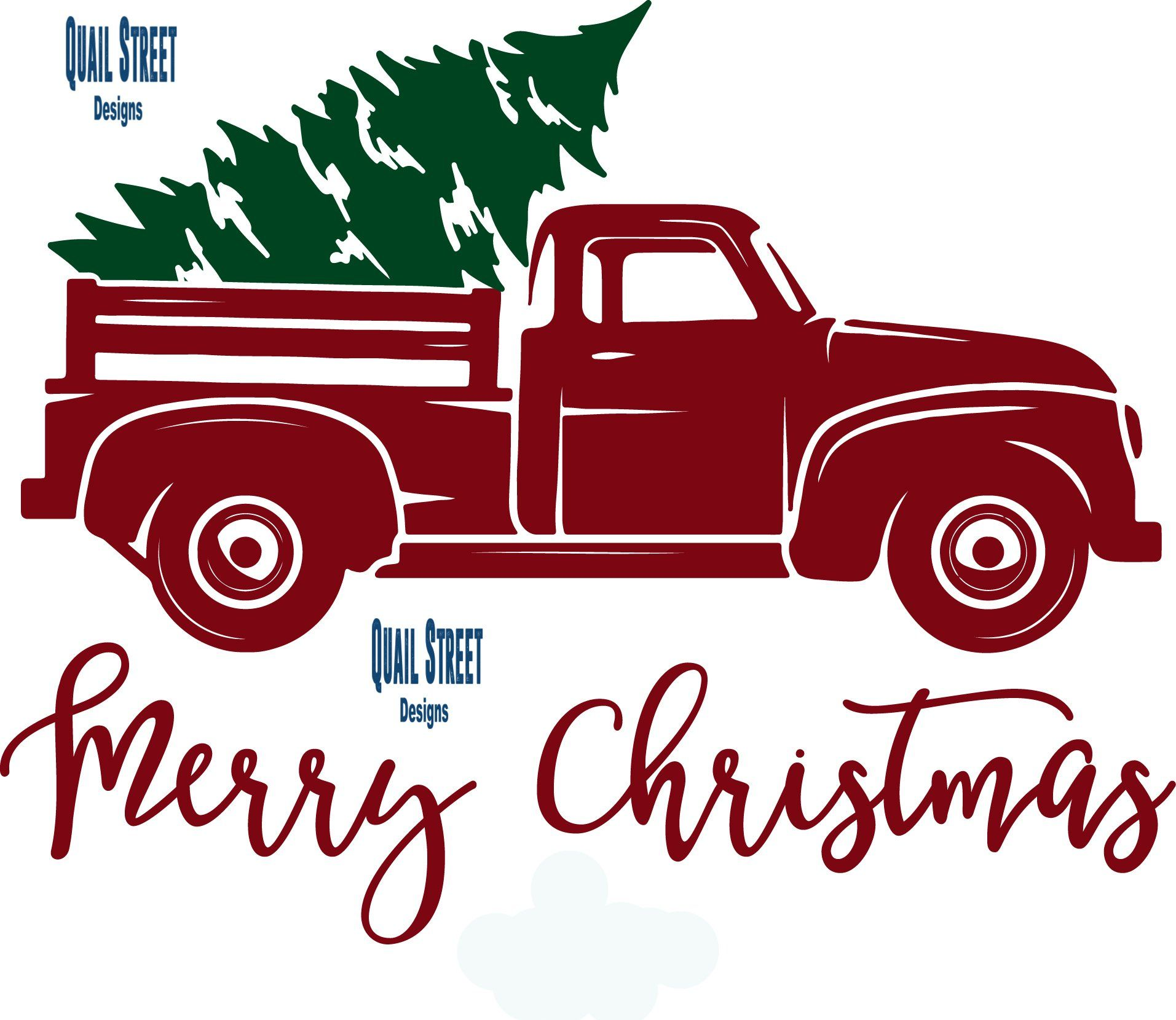 Vintage Red Truck With Christmas Tree Vinyl Decal Products