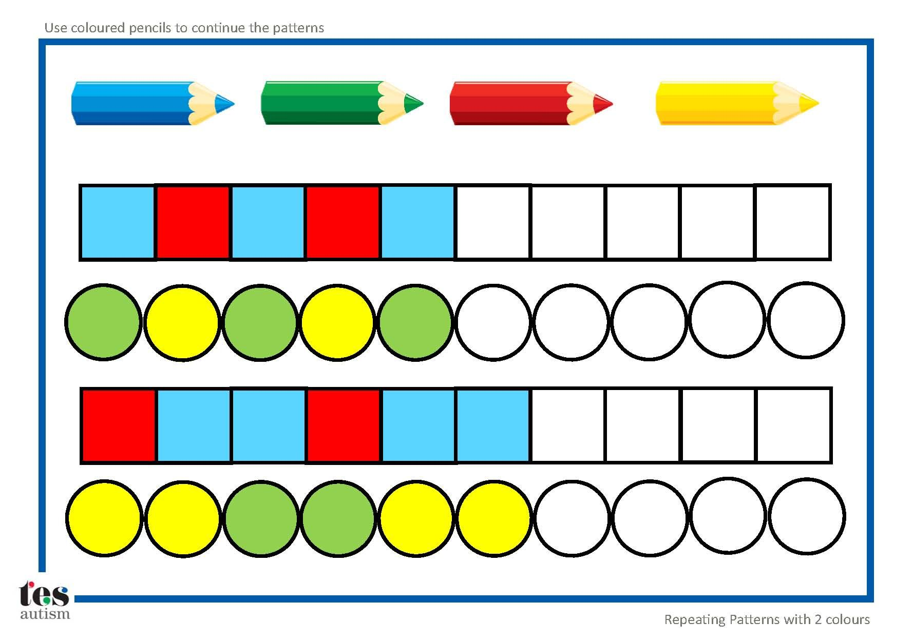 Repeating Patterns With 2 Colours 4 Worksheet Activities Pupils Continue The Patterns Using
