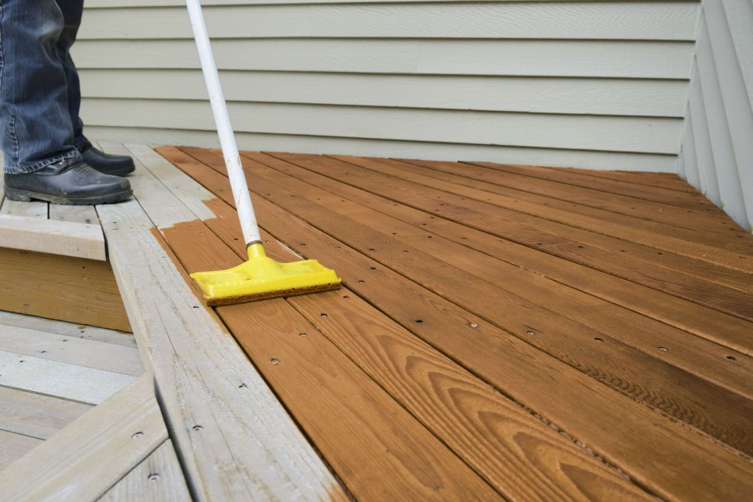 how to sand a deck before staining