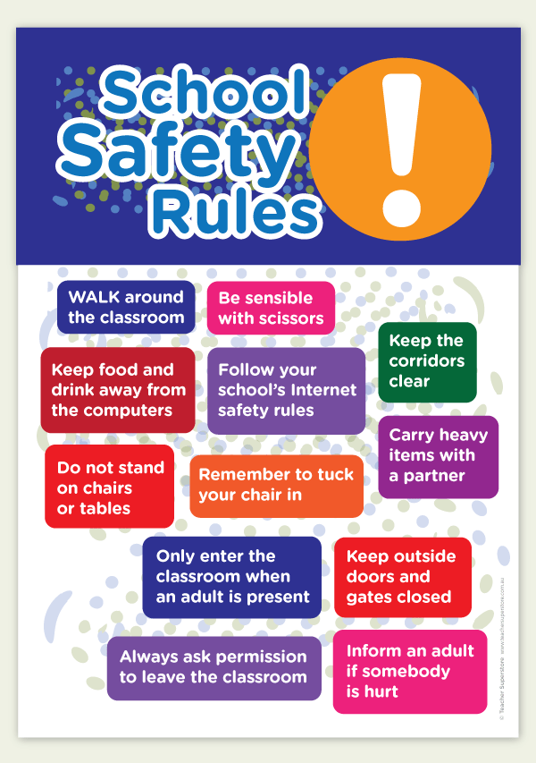 School Safety Rules A3. An A3 poster displaying