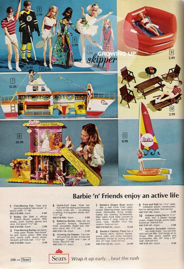 Vintage Sears Catalog Page for Free Moving Barbie,Ken