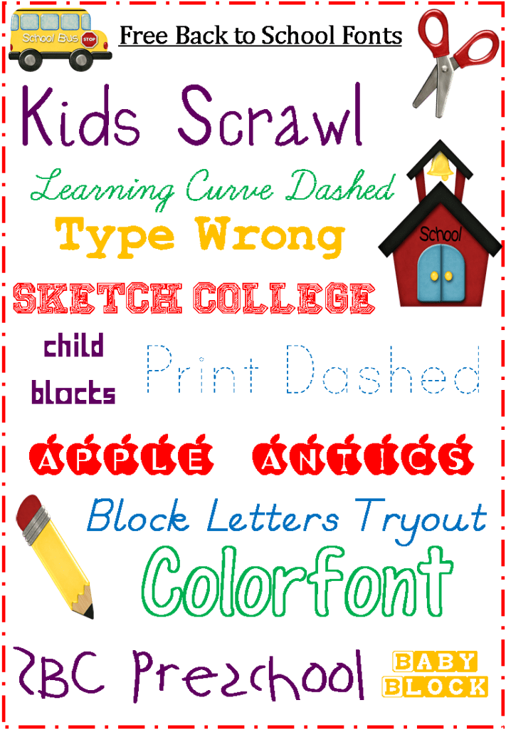 School Fonts Free for Back to School School fonts, Font