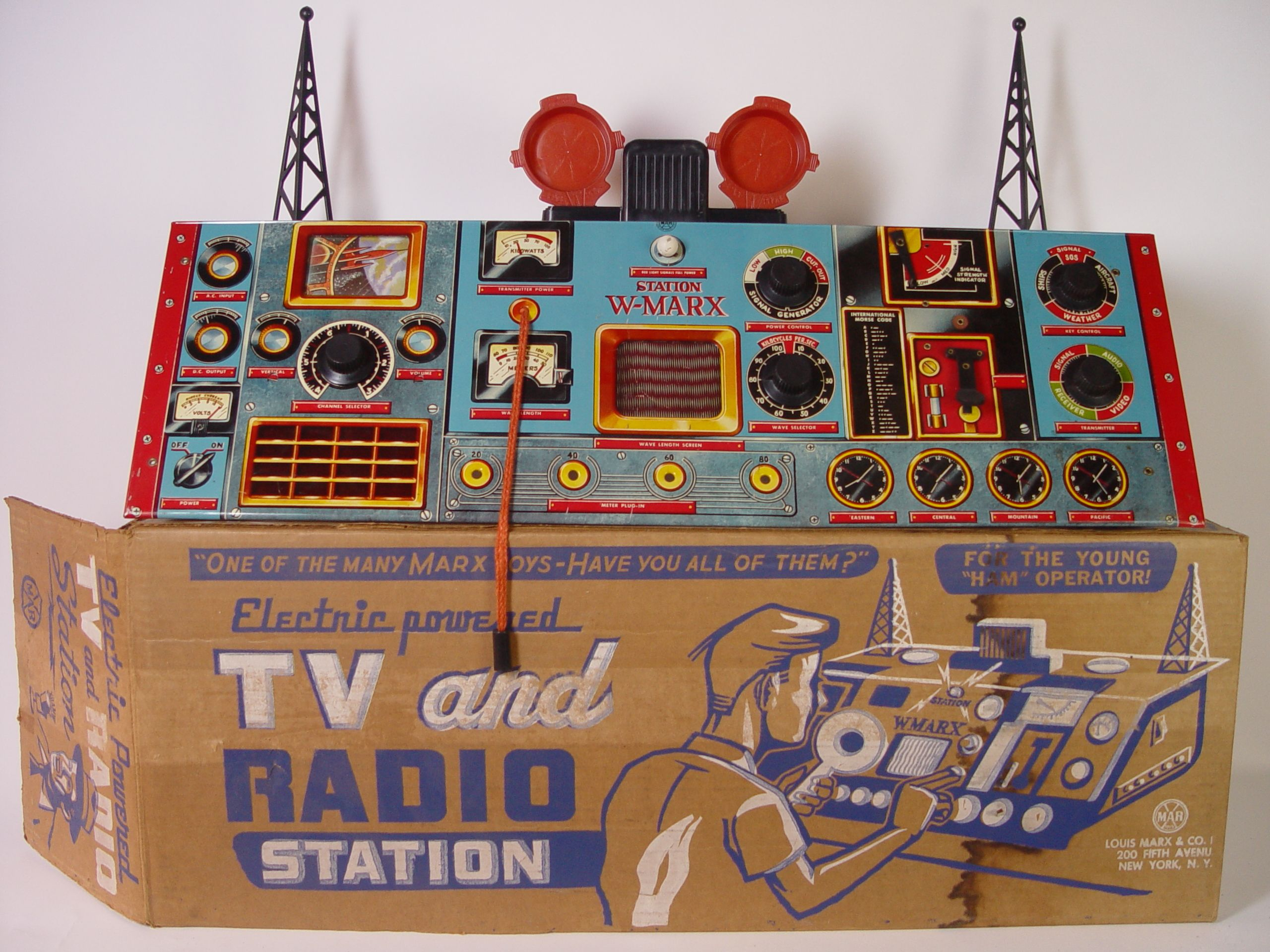 Tin Electric Powered TV and Radio Station by Marx