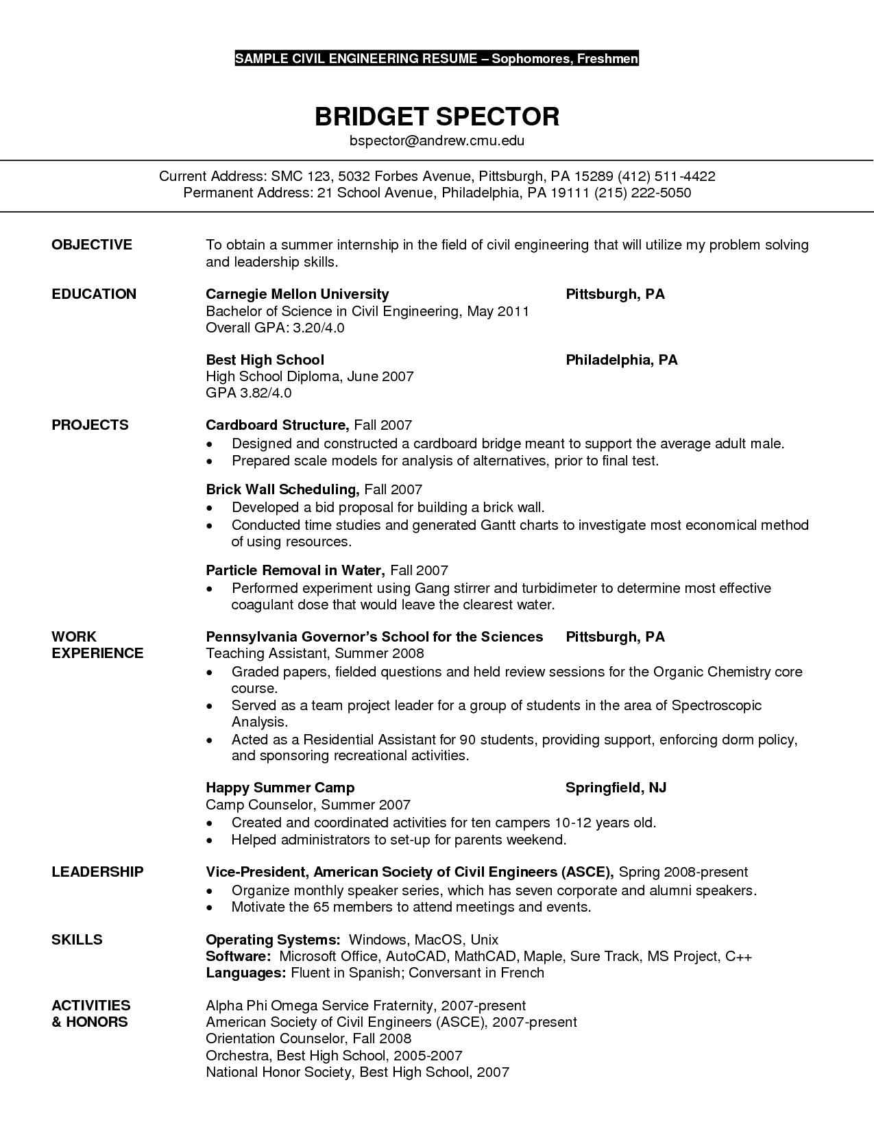 Civil Engineer Resume Sample http//www.resumecareer
