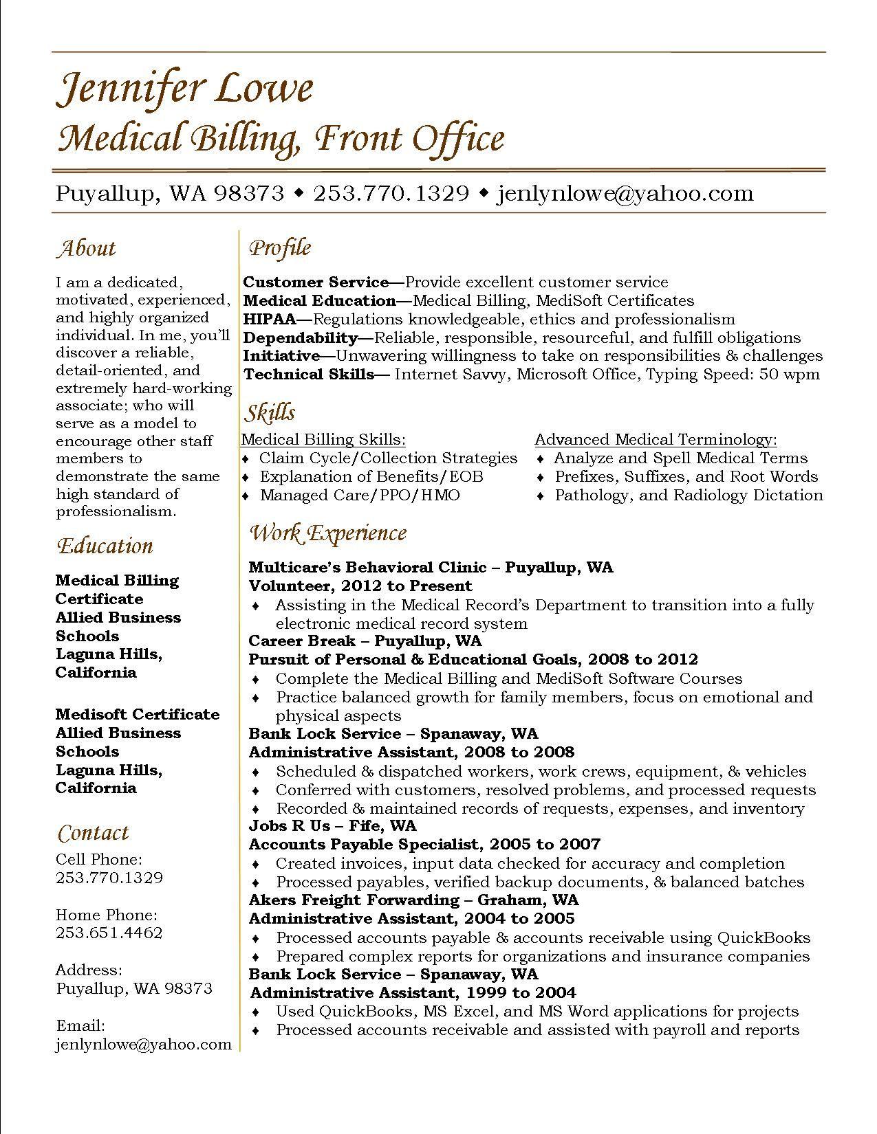 Jennifer Lowe Resume Medical Billing resume career