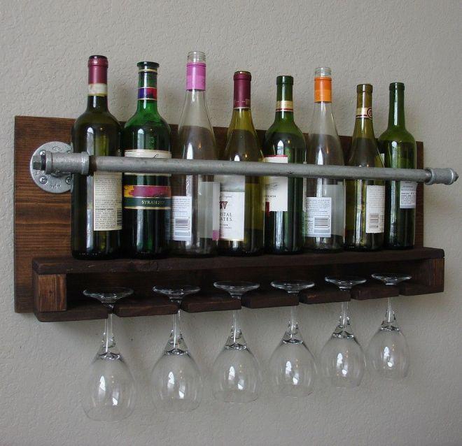Industrial rustic modern 8 bottle wall mount wine rack