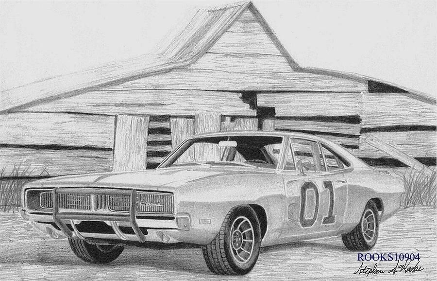 1969 Dodge Charger General Lee MUSCLE CAR ART PRINT