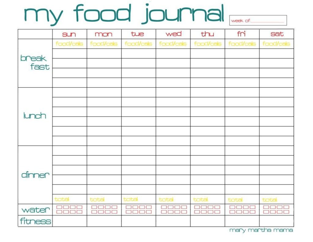 Free Printable Food Journal Page For A Whole Week