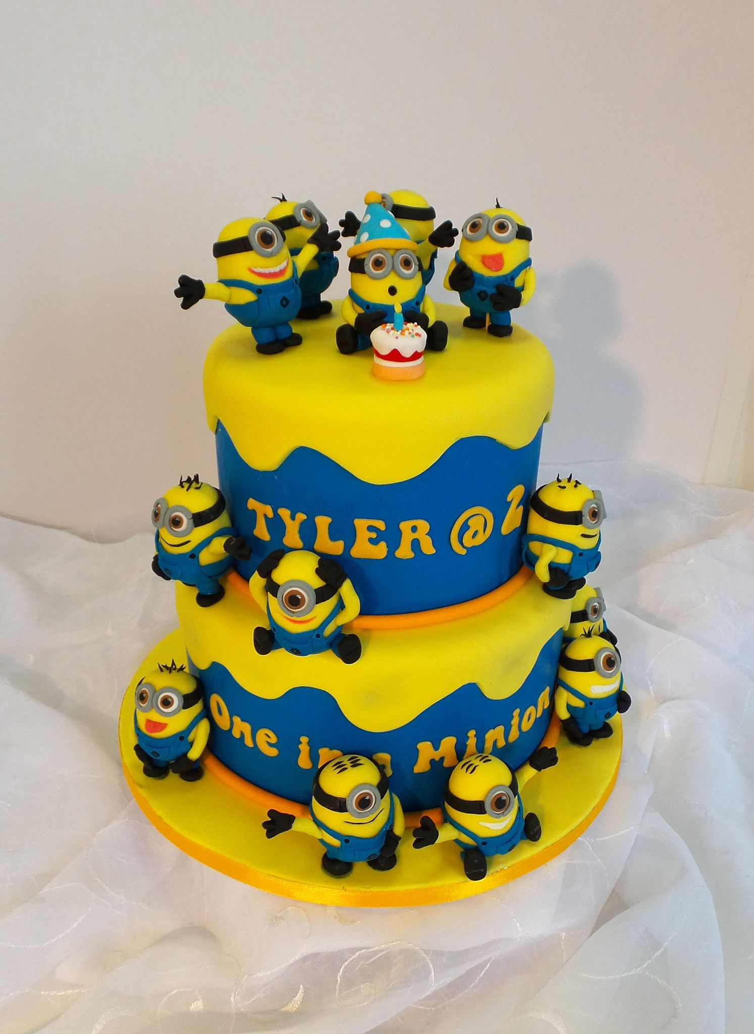 Two Tier Minion Themed Birthday Cake