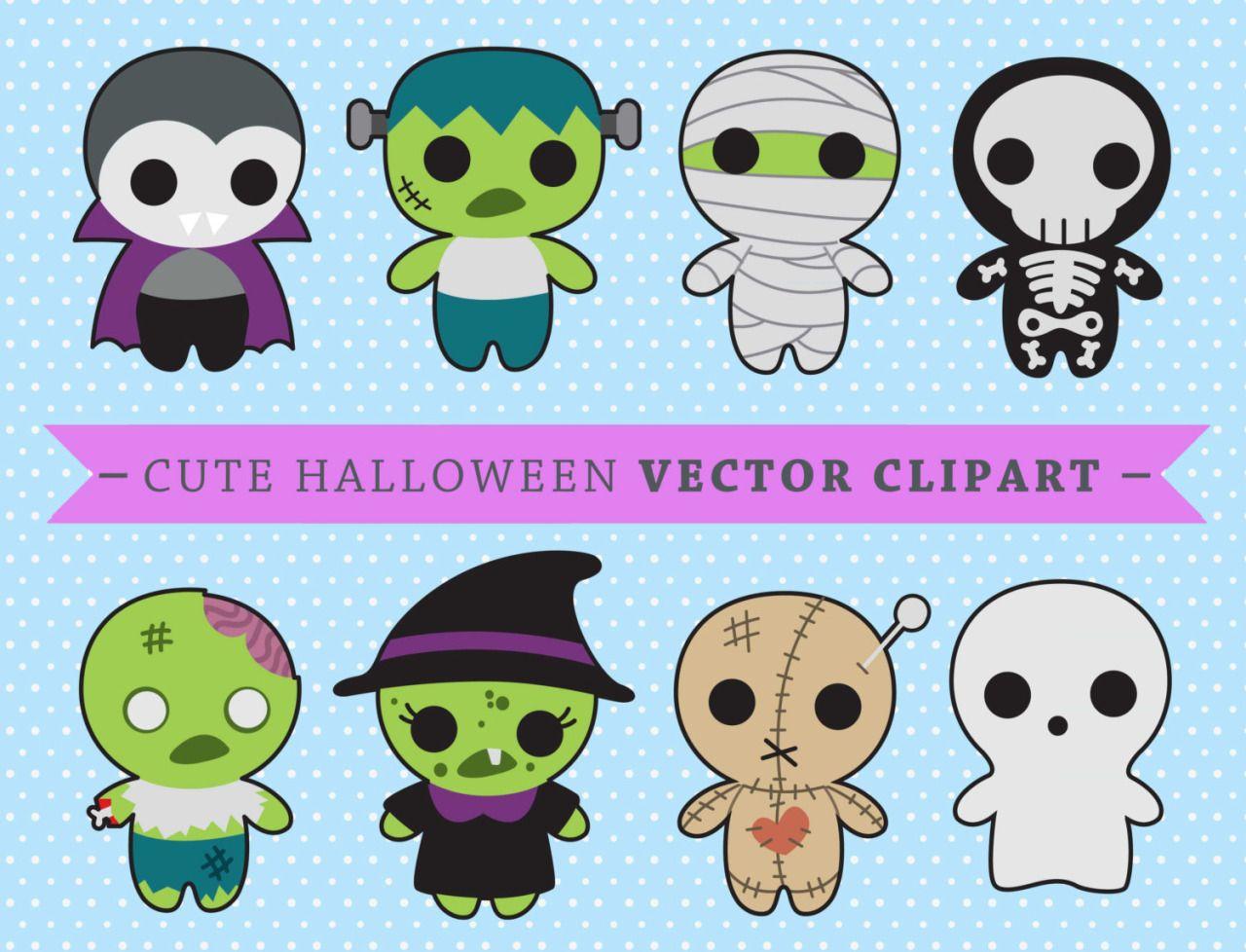 Premium Vector Clipart Kawaii Spooky Halloween