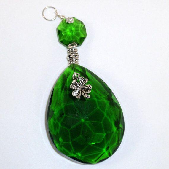 Suncatcher Vintage Emerald Green Chandelier Crystal With Four Leaf Clover Charm And Silver Barrel