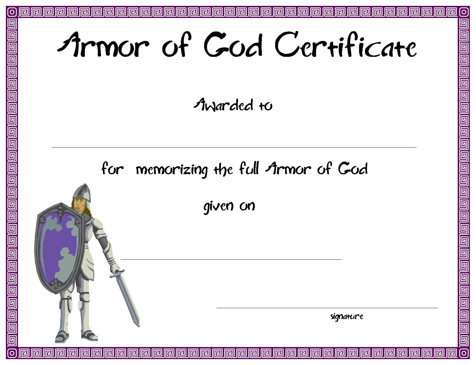 Certificatetemplate Armor Of God Certificate For Your Kids Ministry