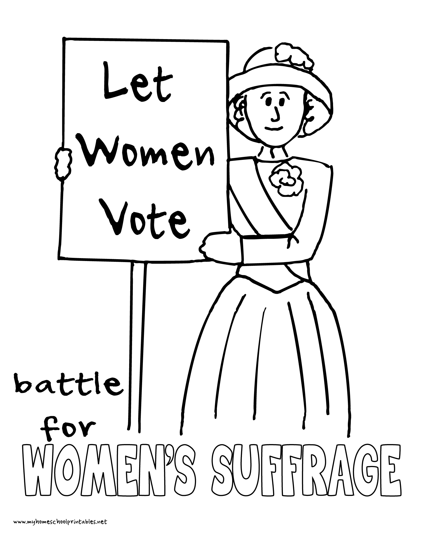World History Coloring Pages Printables Women S Suffrage