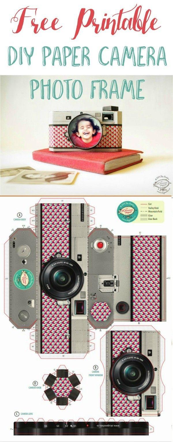 Free Printable DIY Paper Camera Photo Frame Diy paper