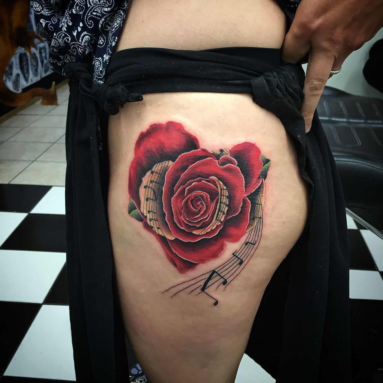Rose music morf tattoo. Had fun doing this one