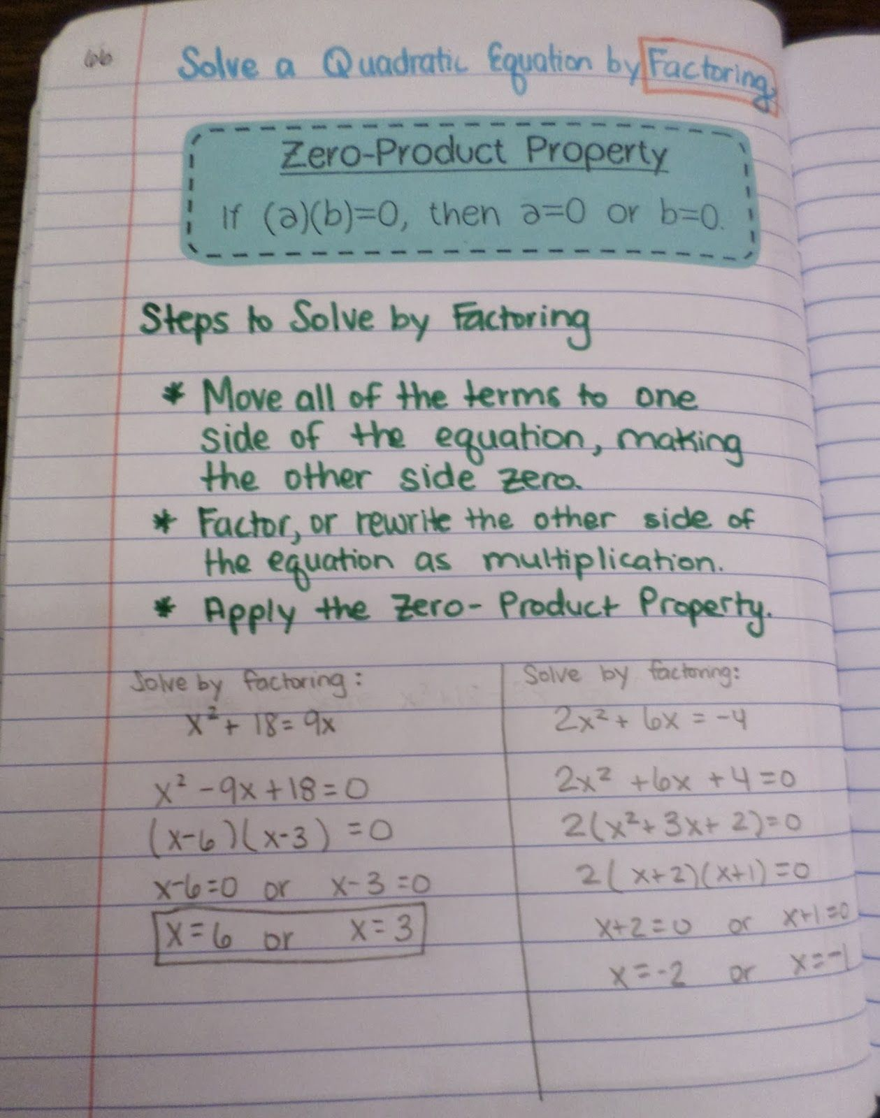 Math Love Solving Quadratics By Factoring And The Zero