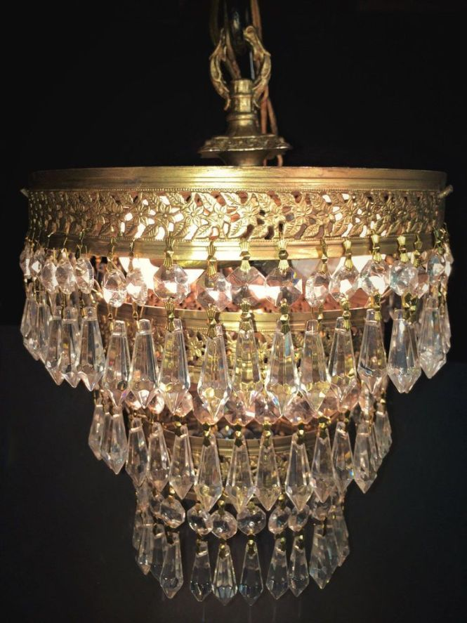 Fine Antique Art Deco Gold Gilt 3 Tier Crystal Wedding Cake Chandelier C 1930