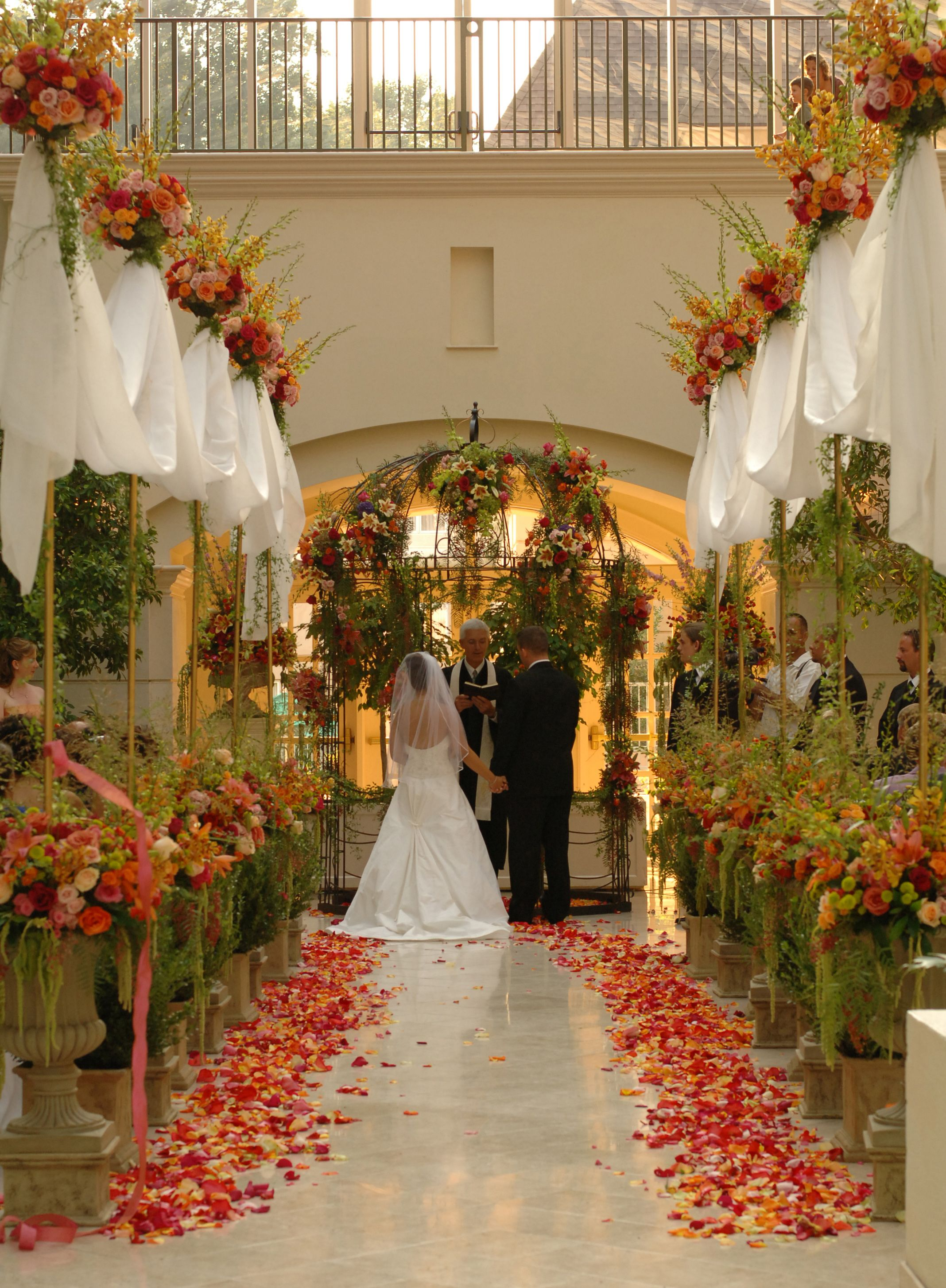Intimate rustic wedding ceremony in the Chateau Elan
