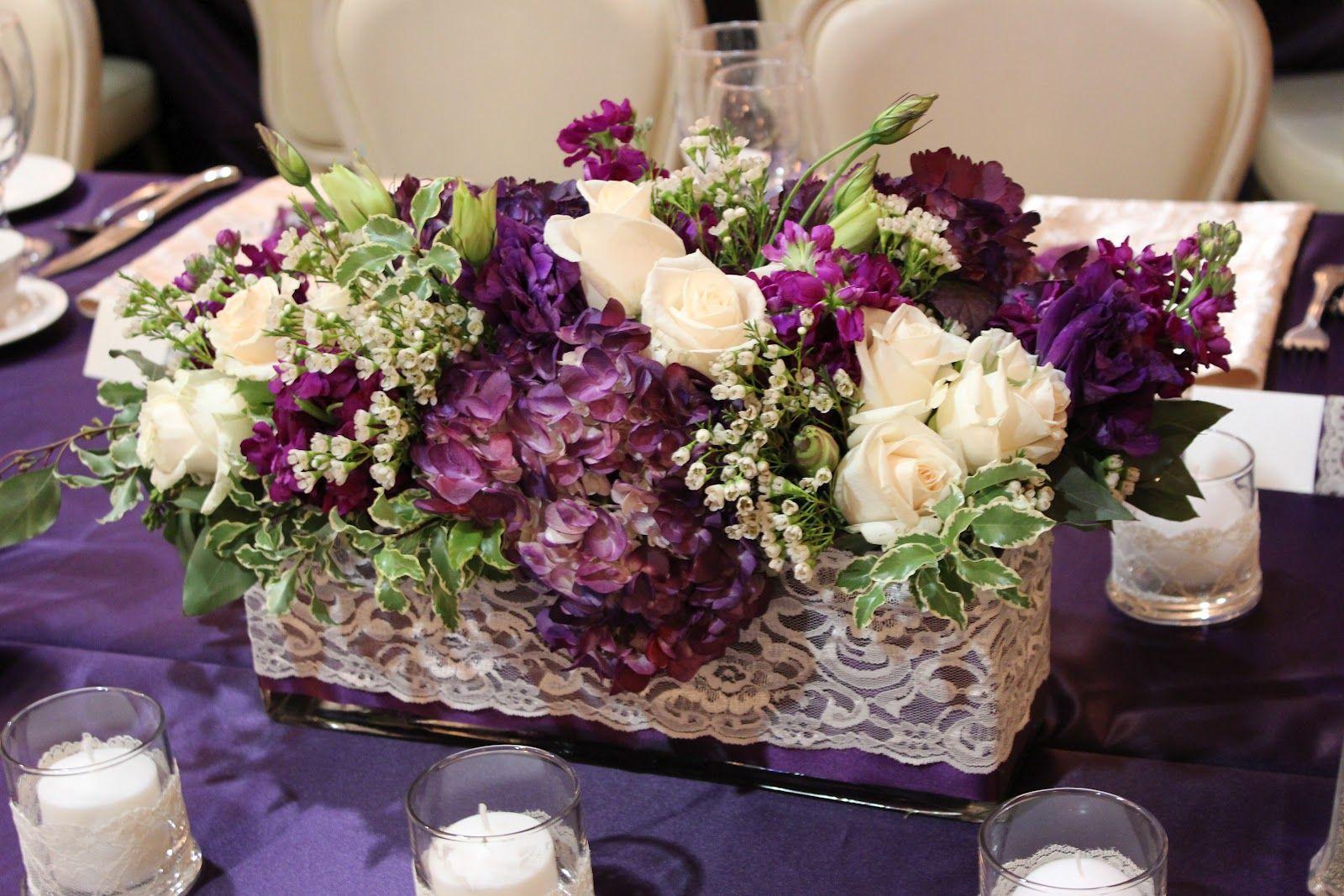 Round Wedding Table Flowers Eggplant