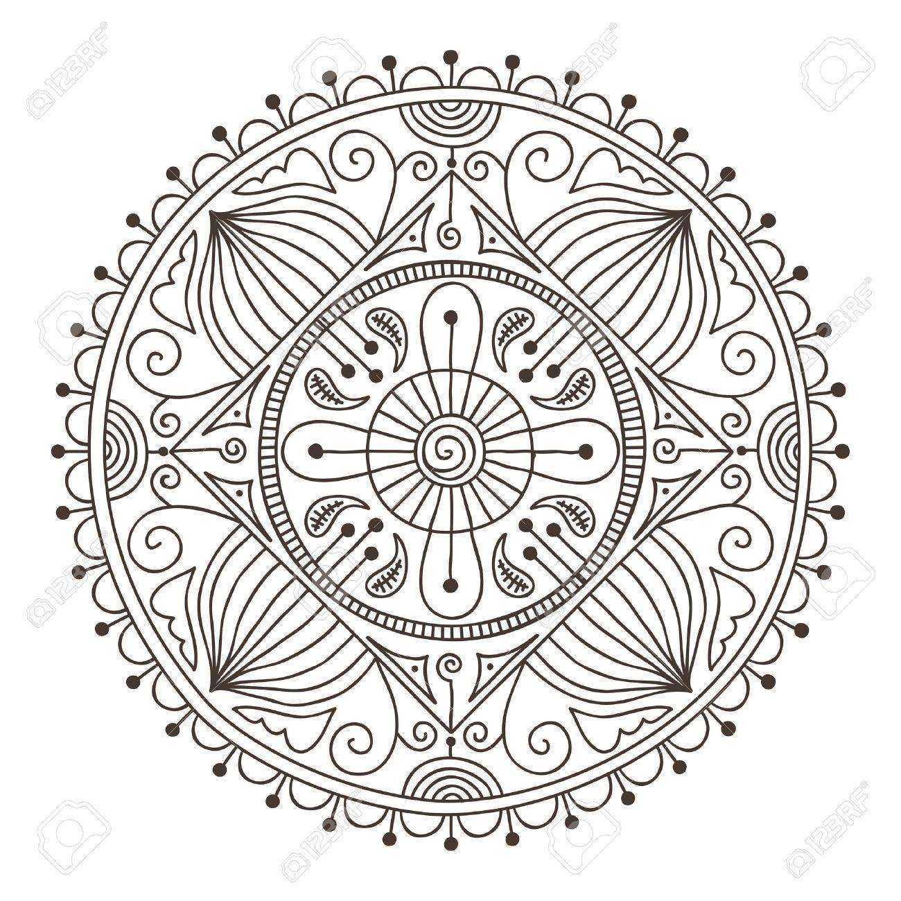 Beautiful Hand Drawn Doodle Mandala Royalty Free Cliparts