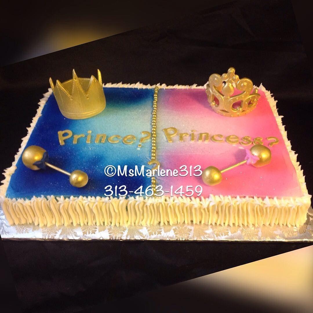 Prince Or Princess Themed Gender Reveal Cake W Crown Tiara