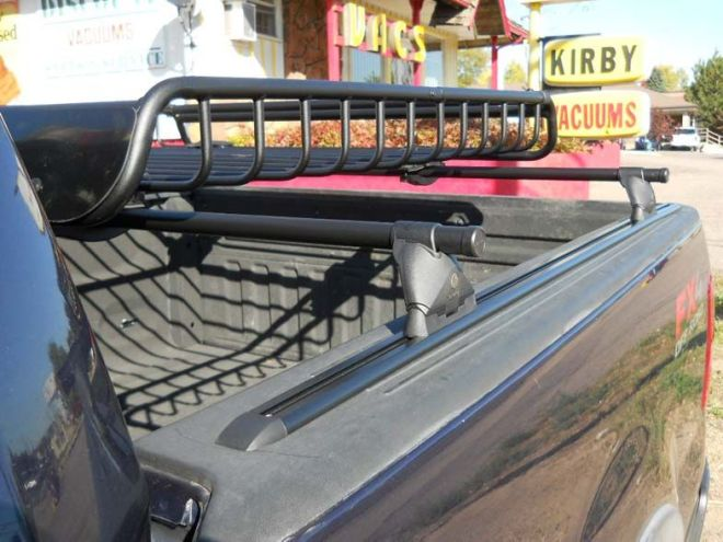 Ford f150 bedrail rack with cargo basket install truck