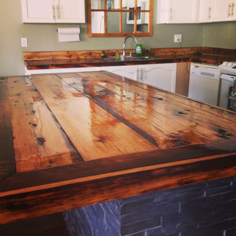 DIY countertops rustic barn board House Ideas
