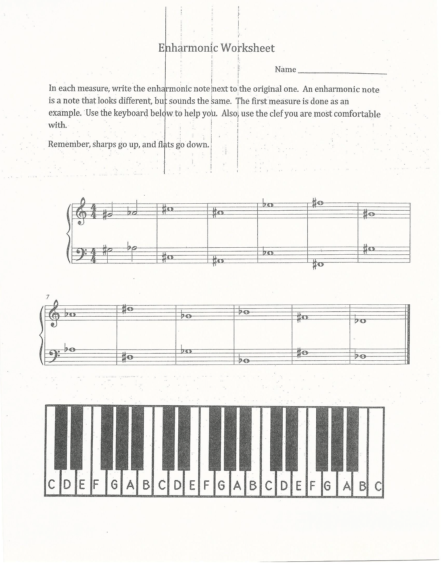 Enharmonic Worksheet I Created This Worksheet To Teach 6th And 7th Graders About Enharmonics