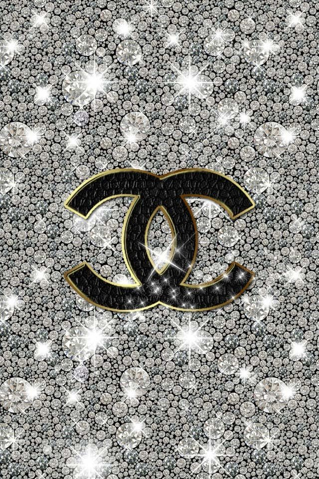 Chanel Glitter Sparkly iPhone Wallpaper Logos