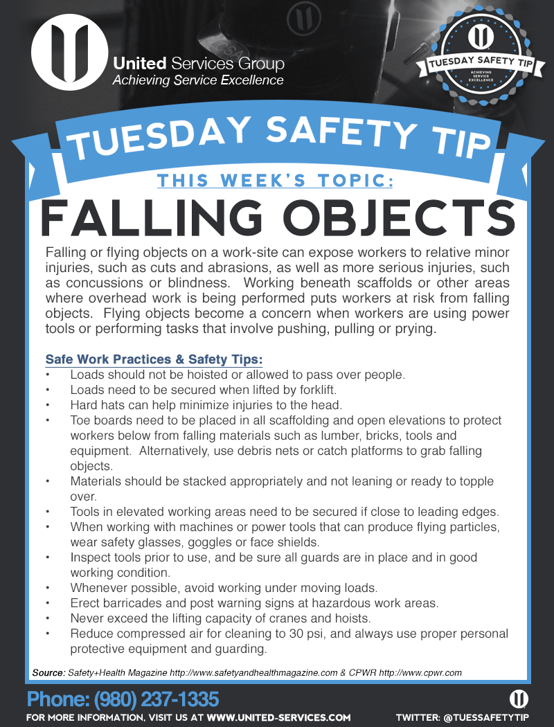 This week's Tuesday Safety Tip is about Falling Objects