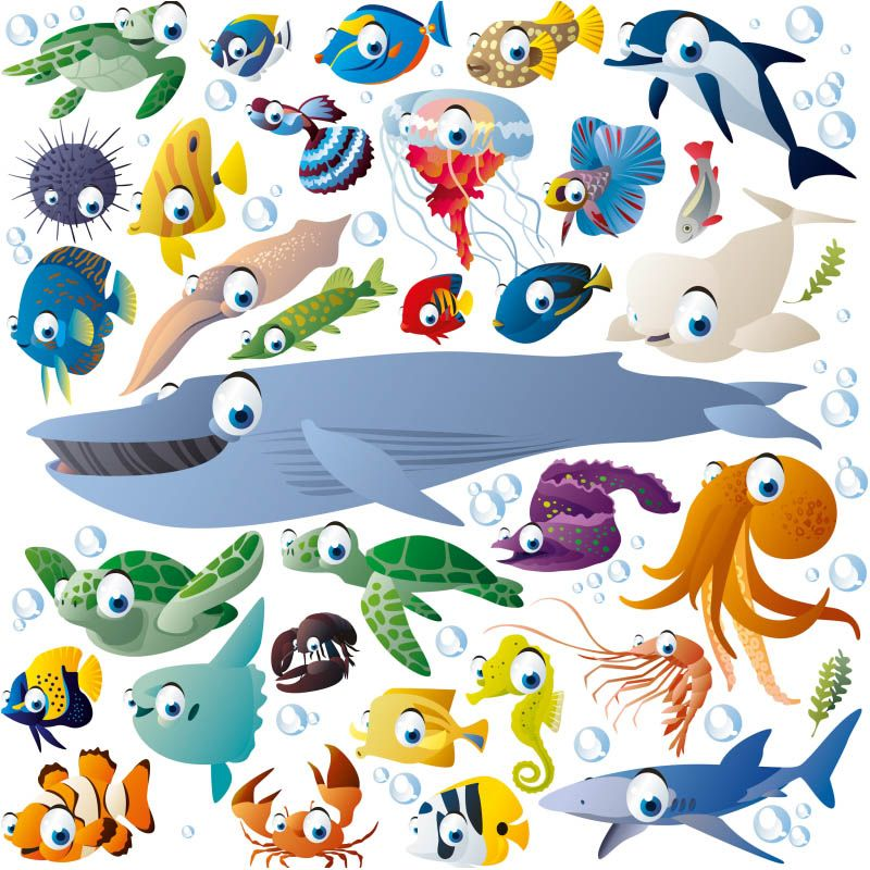 Funny cartoon sea creatures and fish vector Stuff